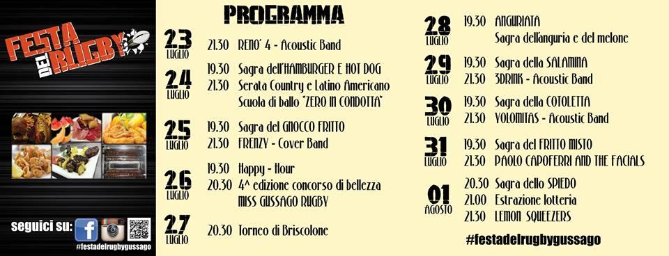 Festa Rugby 2015 Programma