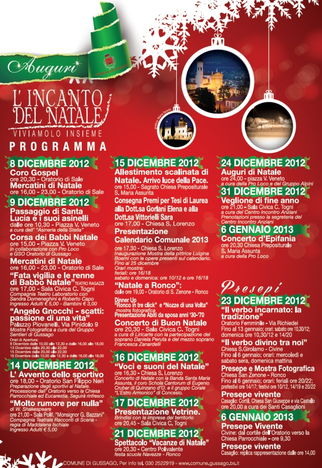 Eventi Di Natale.Calendario Eventi Di Natale A Gussago L Incanto Del Natale